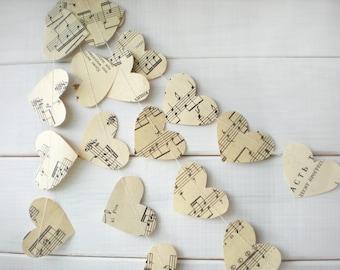 Corazones Garland, guirnalda de corazones de página de música, decoración de la boda, boda guirnalda, nupcial ducha decoración, guirnalda romántica, 10 pies de largo