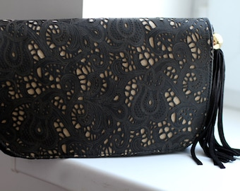 Black Leather Lace Tassel Clutch art.175