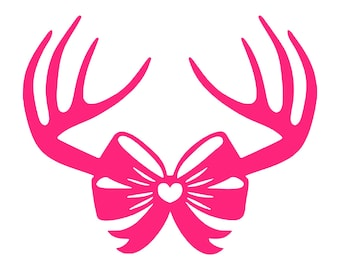 Digi-tizers Antlers with Bow SVG, JPG, Pdf, cutting file, card stock, vinyl,HTV, Cricut, Cameo, Cnc, Laser engraving, Plasma cutting, Vector