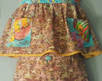 Size 2t Girls Fish Halter Top and Shorts Two Piece Summer Outfit Ocean Starfish Beach Turquoise Tan Yellow OOAK