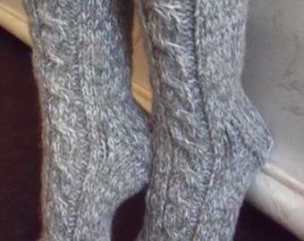 Grey hand knit socks, mohair,sheep wool,cashmere thick bed socks, slippers,UK size from 4-till 11,US 5-12,EU 35-47.Kozizake