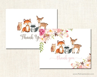 Woodland Animals Thank You Cards - TBaby Shower Thank You Cards - Set of 24 with envelopes
