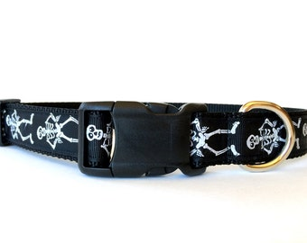 Halloween Dog Collar Black and White Skeleton - Adjustable, Scary, Spooky, Bones