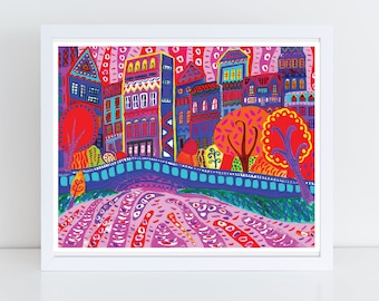 City Folk Art Print-- Central Park New York City -- 100 Thank Yous Project, Primitive, Colorful Wall Art, Vibrant Art