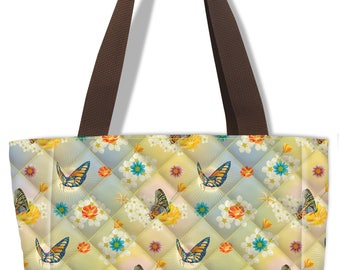 Quilted Butterfly Pattern Insulated Lunch Sack