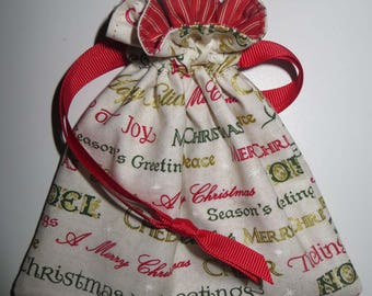 Season's Greetings Lined Drawstring Fabric Jewelry or Giftcard Bag