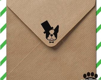 American Gentleman stamp - Boston Terrier stamp - custom dog stamp - wood mounted stamp with handle or self inking - Boston Terrier gift