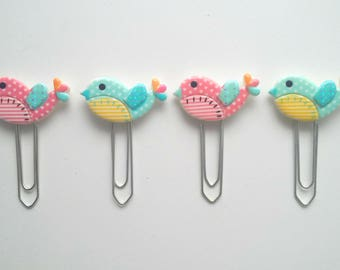 Set of 4 cute vintage patchwork style bird paper clips bookmark