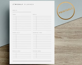 Weekly Task Planner Printable | Planner Pages | To Do List | Minimalist | Black White | A4 | A5 | US Letter | Half Letter | Instant Download