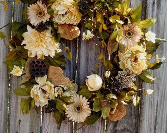 Rustic Wreath - Spring Wreath -  Farmhouse Wreath - Year Round Wreath - Wreath For The Door - Summer Wreath -  Wreath -  Front Door Wreath