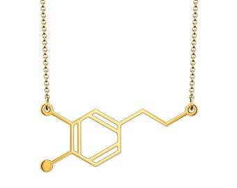 Dopamine Molecule Necklace - Gold