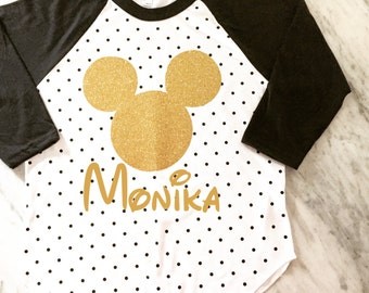 gold glitter mickey mouse polka dot shirt, disney vacation family shirts, disney birthday shirt, mickey mouse birthday shirt