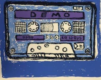 Democolor tape in blue - SCREENPRINT - 3 color - hand pulled