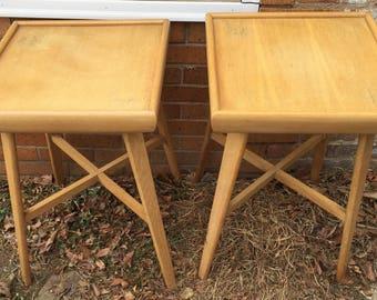 Pair Of Blonde Wood Heywood Wakefield Style Table