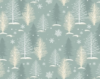 Winter Forest Fabric, Christmas, Snow Tree - A Christmas to Remember by Gina Linn for Blank Quilting - 8159 11 Gray - Priced by 1/2 Yard