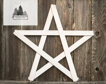 Large Wooden Rustic Home Star- White