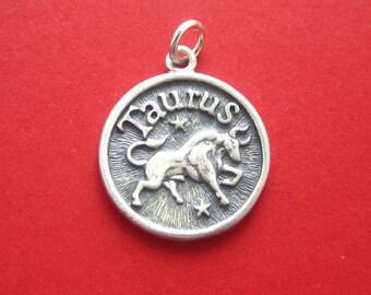 Sterling Silver Taurus  Zodiac  Sign Medallion Pendant Charm