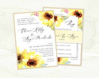 Sunflower Wedding Invitation Suite, Wedding Invite, Watercolor Floral Invitation, Summer Spring Outdoor Wedding | PRINTED SAMPLE