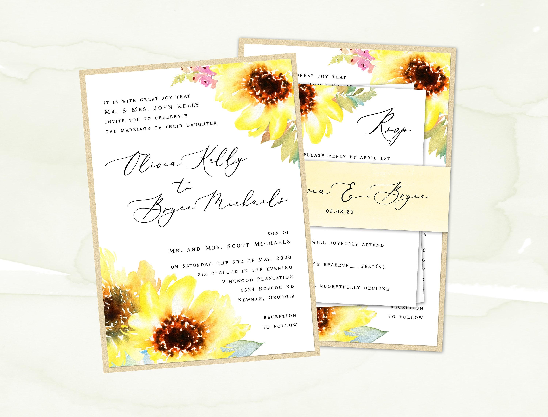 Sunflower Wedding Invitation Suite Wedding Invite Watercolor