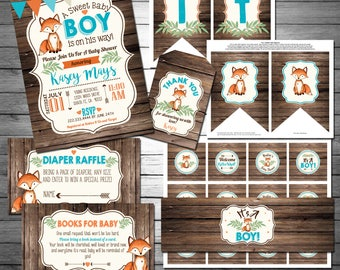 Fox Baby Shower Party Package, Fox Baby Shower, Little Fox, Wood Baby Shower, Rustic Baby Shower, Clever Little Fox