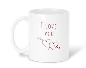 I Love You Mug Coffee Mug I Love You Tea Mug I Love You Travel Mug I Love You Gift Mug Love Mug Red White Mug heart