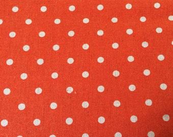 Linen Mochi Dot fabric by Moda Fabrics - Linen and Cotton blend - Orange