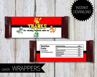 Pokemon GO Birthday Party PRINTABLE Candy Wrappers- Instant Download | Pokémon Go | Chocolate Wrappers