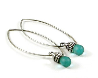 Earrings Teal Blue Sterling Silver Gifts for Her
