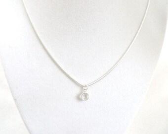 Swarovski Crystal Necklace April Birthstone Birthday Gift Necklace Communion Sterling Silver Minimalist Christmas Gift Stocking Stuffer