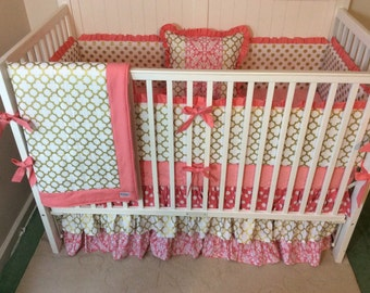 Crib Bedding Coral and Gold Ruffled Deposit
