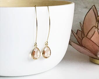 Champagne Drop Earrings. Bridesmaid Gift. Drop Earrings. Wedding Jewelry. Simple Earrings. Christmas Gift. Dangle Earrings. Jewelry Gift.