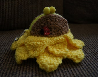 Crochet Sunflower Coin Purse