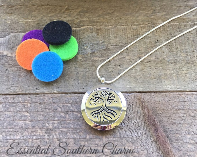 Perfume Locket | Aromatherapy Necklace | Essential Oil Necklace | Oil Diffuser Necklace | Scent Locket  ESC Tree of Life 25mm