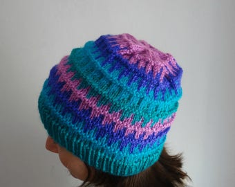 Multicolored bulky hat Bariloche / winter hat, accesory, wool, warm, soft, knitted hat