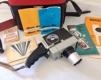 Super 8 BAUER 88 R, caméra manuelle de 1963, avec sacoche, sa notice. Vintage