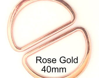 D-Rings Rose Gold / Rose Gold D Rings / 40mm D Rings / Rose Gold Purse Hardware / D-Rings / Purse Hardware /  / SET of TWO
