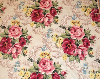 """Vintage Bark Cloth Fabric Curtain Panel   57"""" x 34"""" Roses and Swags"""