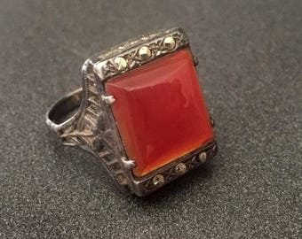 Antique Sterling Carnelian Marcasite Ring Square Stone Filigree Style Floral Sizes, Vintage Jewelry Size 5.25