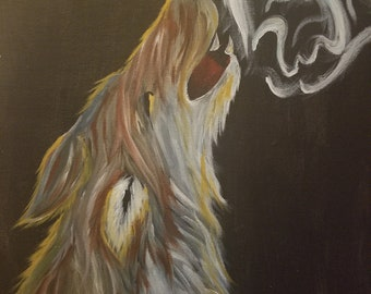 "size: 16"" X 20"". Howling wolf."