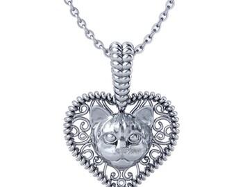 Cat love heart pendant