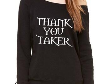Thank You Undertaker Slouchy Off Shoulder Oversized Sweatshirt
