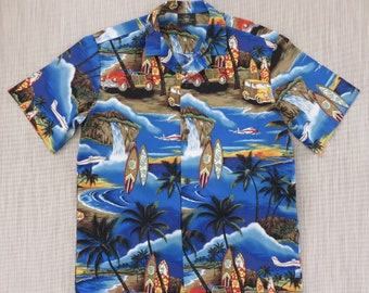 Hawaiian Shirt ROYAL CREATIONS Like-New Surfer Aloha Shirt Woody Surfboards Planes Party Shirt 100% Cotton Camp - L - Oahu Lew's Shirt Shack