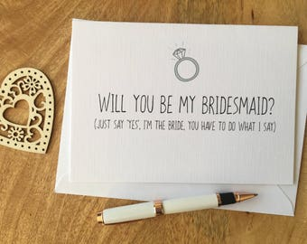 Personalised Will You Be My Bridesmaid Card Funny Best Friend Maid of Honour