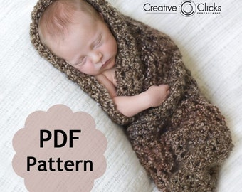 Baby Cocoon for Newborn Photography -- PDF Pattern for Crochet INSTANT DOWNLOAD