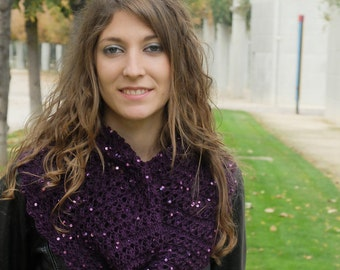 Purple Openwork Cowl with Soft Payettes, Snood, Neckwarmer, Seamless