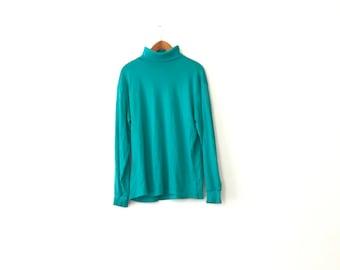 Basic 90s Turquoise Turtleneck Shirt - XL