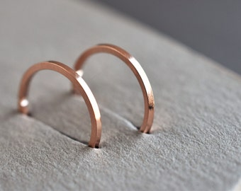 Rose gold Hoop earrings. Rose gold Loop earrings. Percing ring, everyday wear hoop, percing hoop, stardust bead hoop, tiny hoop earring.