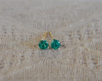 Emerald 3mm Studs, Emerald Stud Earrings, Tiny Emerald Sterling Silver Posts, Emerald Post Earrings, May Birthstone, Hydrothermal Emerald