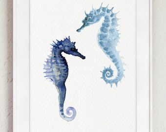 Seahorse Watercolor Painting Ocean Home Decor, Blue Seahorses Nautical Sea Life Illustration Home Decor, Summer Beach Giclee Fine Art Print