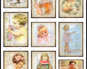 9 Vintage Grunge Children Baby Nursery Sheet ATC ACEO / Retro Christmas Digital Collage Sheet Tags Images—Printable Ephemera